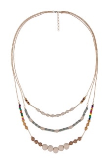 Amber Rose Triple Strand Multi Bead Natural Necklac