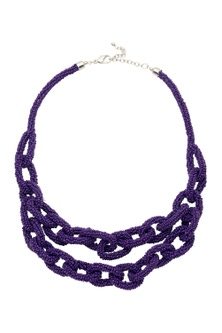 Amber Rose Amethyst Bead Necklace