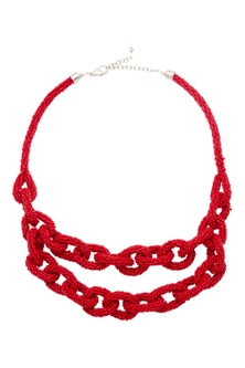 Amber Rose Red Bead Necklace