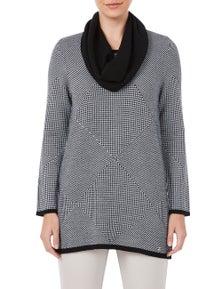 W.Lane Patchwork Cowl Sweater