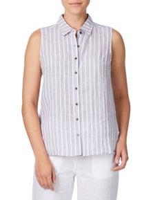 W.Lane Block Stripe Linen Blouse