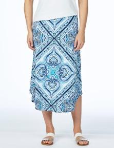 W.Lane Print Curve Hem Skirt
