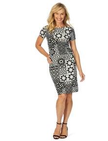W.Lane Monotone Tile Print Dress