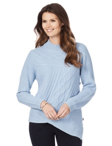 W.Lane Cable Button Trim Knit