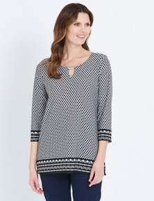 W.Lane Geometric Border 3/4 Sleeve Tunic