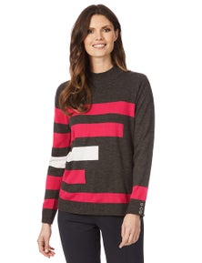 W.Lane Roll Neck Contrast Pullover