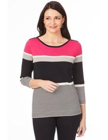 W.Lane Contrast Yoke Stripe 3/4 Sleeve Sweater
