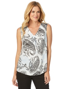 W.Lane Mono Drape Sleeveless Blouse