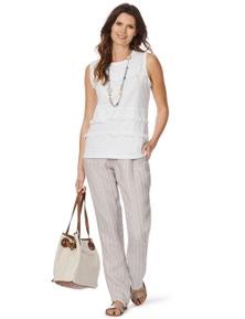 W.Lane Stripe Full Length Linen Pant