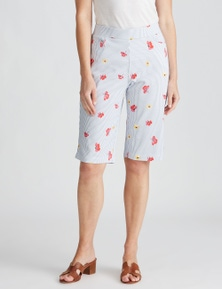 W.Lane Floral Stripe Short