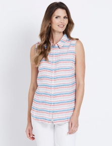 W.Lane Sleeveless Stripe Blouse