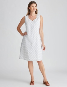 W.Lane Textured Stripe Linen Dress