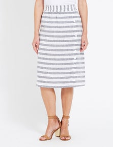 W.Lane Stripe Button Linen Skirt