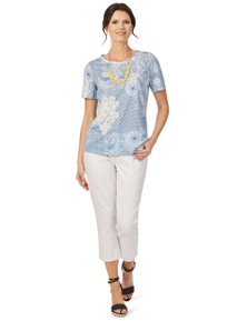 W.Lane Floral Patchwork Tee