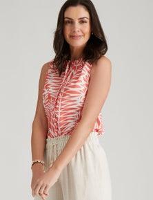 W.Lane Sleeveless Palm Print Blouse
