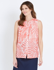 W.Lane Sleeveless Palm Print Blouse