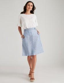 W.Lane Linen Stripe Skirt