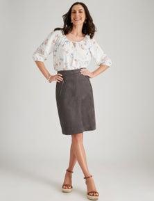 W.Lane Zip Detail Suedette Skirt