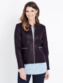 W.Lane PU Stitch Detail Jacket