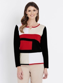 W.Lane Spliced Notch Neck Long Sleeve Pullover