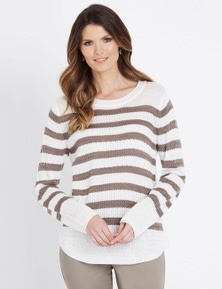 W.Lane Textured Stripe Long Sleeve Pullover
