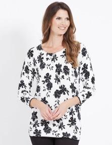 W.Lane Mono Floral Print Pullover