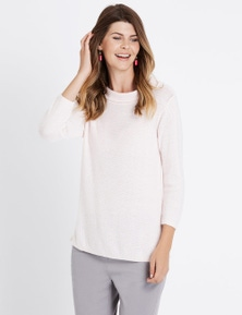 W.Lane Cowl Neck 3/4 Sleeve Pullover