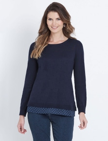 W.Lane Textured Woven Hem Long Sleeve Pullover