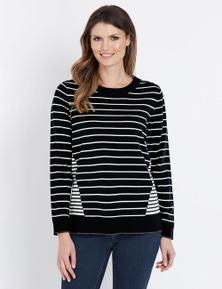 W.Lane Stripe Panel Pullover