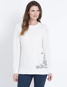 W.Lane Embroidered Cable Pullover