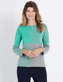W.Lane Check Colour Block Pullover