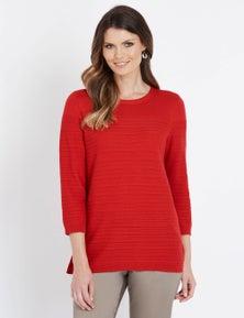 W.Lane Pointelle 3/4 Sleeve Pullover
