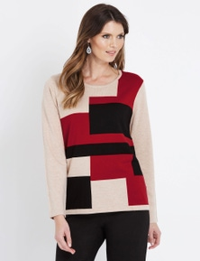W.Lane Colour Block Long Sleeve Pullover