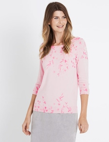 W.Lane Floral Placement Printed Pullover