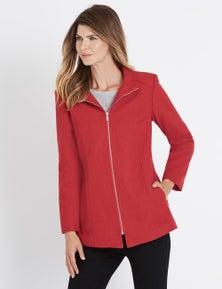 W.Lane Smart Melton Zip Through Coat