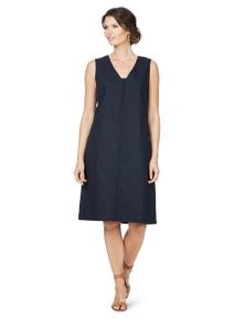 W.Lane Trim Detail Linen Dress