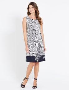 W.Lane Mono Floral Print Linen Dress