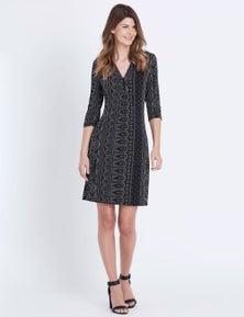 W.Lane Mono Print Tie Dress