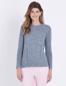 W.Lane Button Cable Knit Pullover