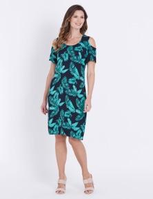 W.Lane Cold Shoulder Fern Print Dress
