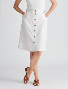 W.Lane Stripe A-Line Button Skirt