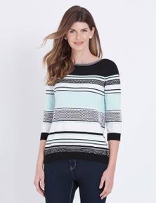 W.Lane Stripe Boatneck Pullover