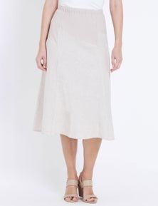 W.Lane Rib Panelled Linen Skirt