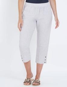 W.Lane Button Crop Linen Pant