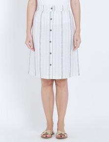 W.Lane Button Detail Stripe Linen Skirt