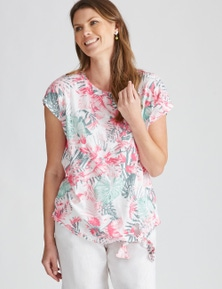 W.Lane Palm Print Tie Top