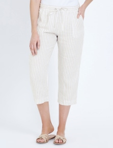 W.Lane Stripe Linen Crop Pant