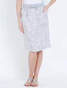 W.Lane Animal Print Linen Skirt