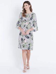W.Lane Floral Flutter Sleeve Dress