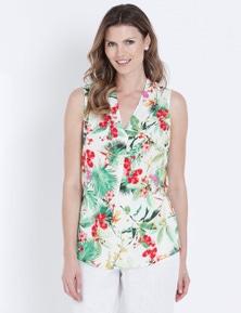 W.Lane Tropical Print Drape Top